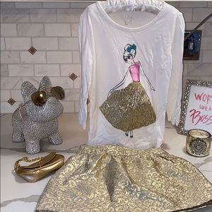 THE CHILDRENS PLACE GOLD SKIRT W MATCHING TOP👏🏻